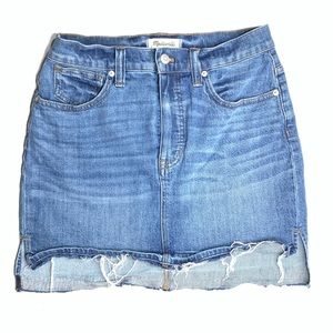 Madewell Frayed Denim Mini Skirt 27